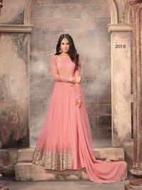 PEACH Net Abaya Style Anarkali Suit