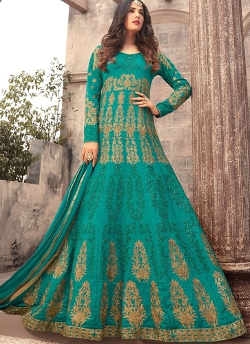Green Art Silk Abaya Style Anarkali Suit
