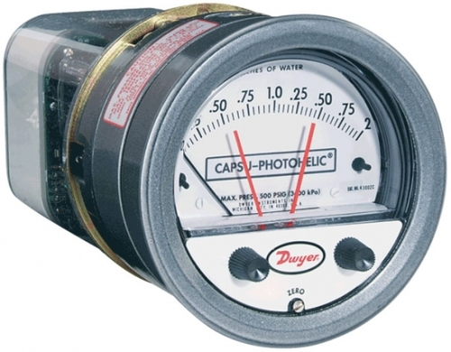 Dwyer Series 43000-0 Capsu-Photohelic Pressure Switch Gage 0-.5