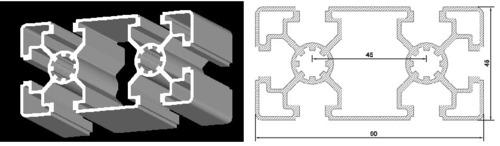 45*90 T Slot Aluminium Profile