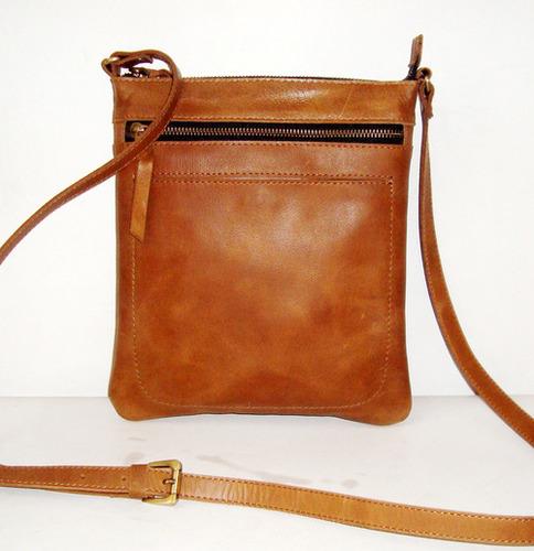 Brown Women Zipper Leather Tote Bag