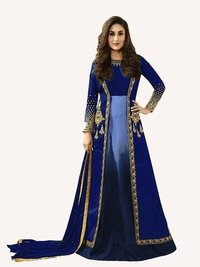 Kareena Kapoor Blue Art Silk Anarkali Suit