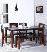 Jipsom Handcrafted Six Seater Dining with Bench in Walnut Finish by Wudstuk