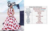 Designer White Printed Gown