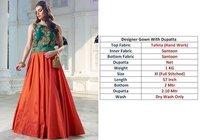 Designer Green  texture Gown