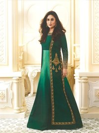 Kareena Kapoor Green Art Silk Anarkali Suit