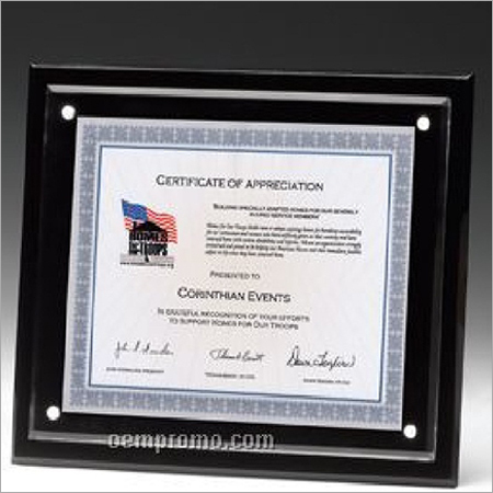 Black And Clear Acrylic Sheet Certificate Holder