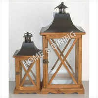 WOODEN LANTERN CROSS WINDOW SET OF 2