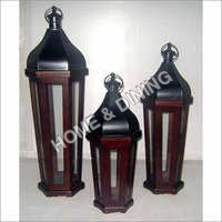 WOODEN LANTERN DOME TOP TAPER SET OF 3