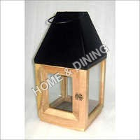WOODEN LANTERN MINI BLK ROOF