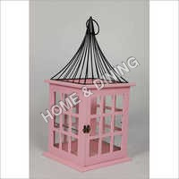 WOODEN LANTERN PINK WIRE ROOF