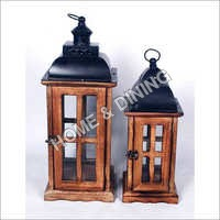 WOODEN LANTERN SET OF 2