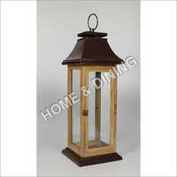 WOODEN LANTERN SQ BROWN