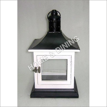 WOODEN LANTERN WHITE 7 BLACK)