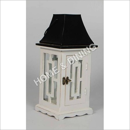WOODEN LANTERN WHITE N BLACK SQ