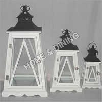 WOODEN LANTERN WHITE N BLACK TOWER SET OF 3