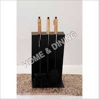 FIRESIDE TOOL SET BLK P.COAT WITH WOODEN HANDLE