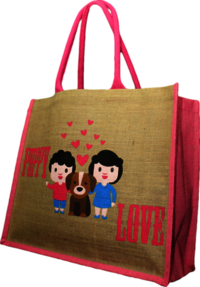 Puppy Love Jute Shopping Bags