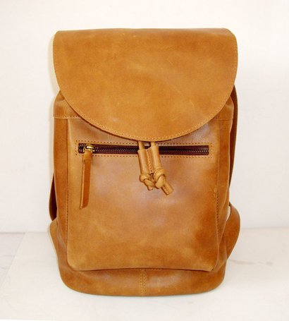 Brown Casual Leather Backpack