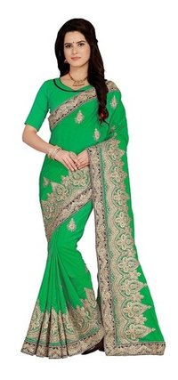 Art Silk Embroidered Green Color Saree