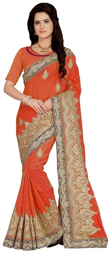 Art silk Embroiered orenge color Saree