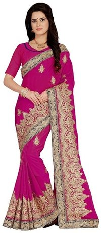 Art silk Embroiered pink color Saree