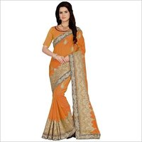 Art silk Embroiered yellow color Saree