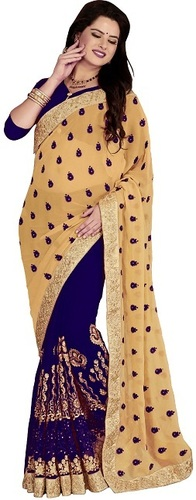 Georgette Embroiered Blue color Saree