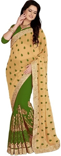 Georgette Embroiered green color Saree