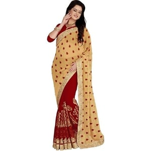 Georgette Embroiered maroon color Saree
