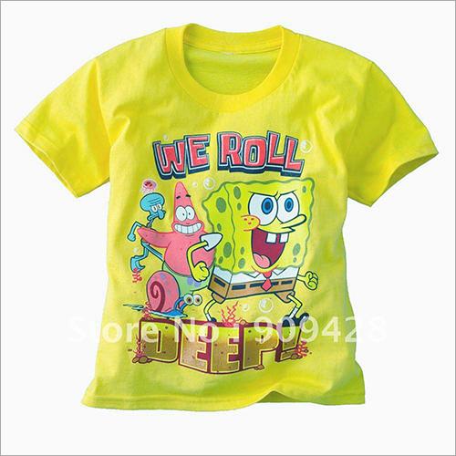 Kids Printed Yellow T Shirt