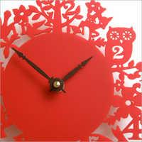 red acrylic clock