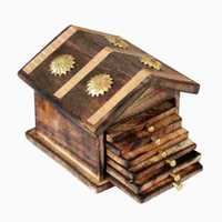 Wooden & Brass Antique Hut Shape Coaster Set Home Decor Gift Item