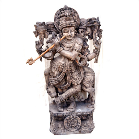 Wooden Krishna With Cow Statue