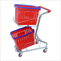 4 Wheel Plastic Shopping Trolley