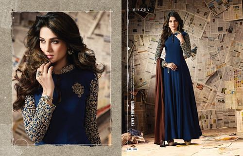Blue with plain duppata designer collection dress