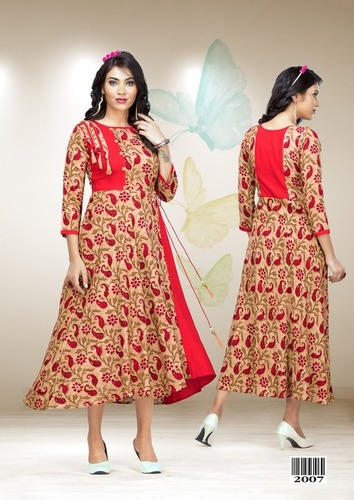 Red printed party wear gown Dress materials