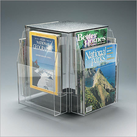 Acrylic revolving magazine stand