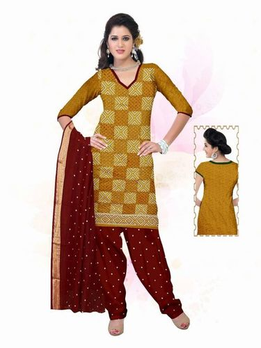 Golden Lace Border Ati Work Dress material