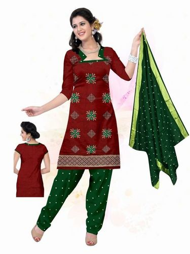 Latest Red & Green Ati work Dress material