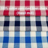Shirting Yarn Dyed Linen Check (Basil Mill) 58