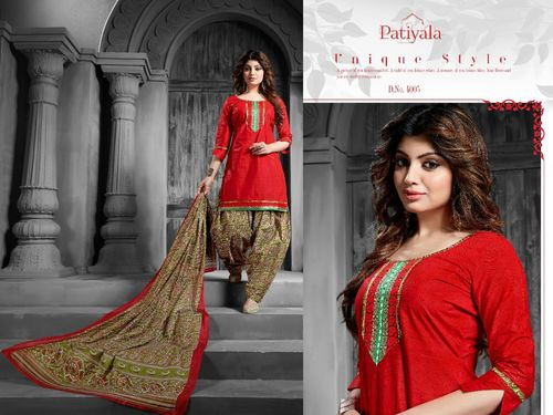 Pure Cotton Printed Patiyala Dress Material