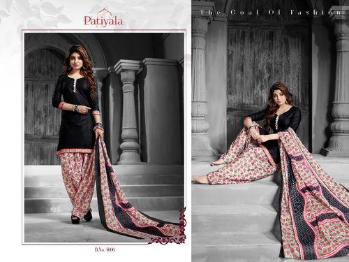 Plain Black Patiyala Dress Material