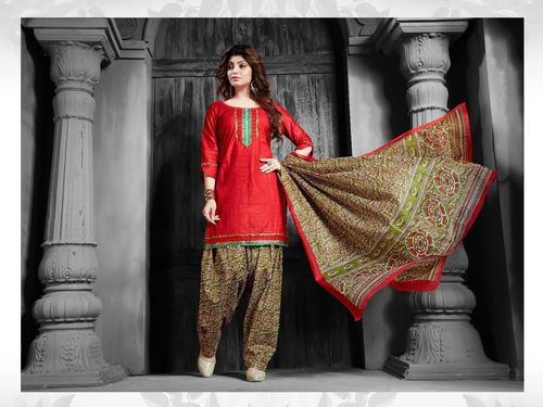 Fancy Cotton Patiala Suits