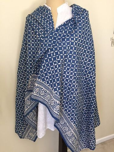 Indigo Print Cotton Scarves