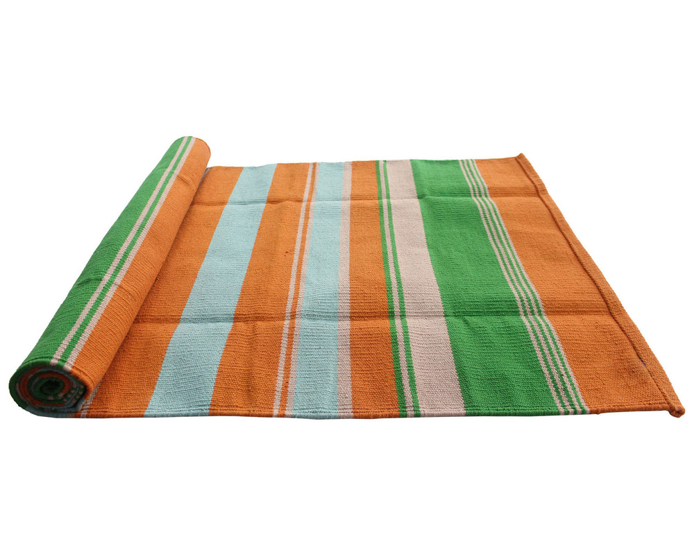 Green stripe Cotton Yoga Rug