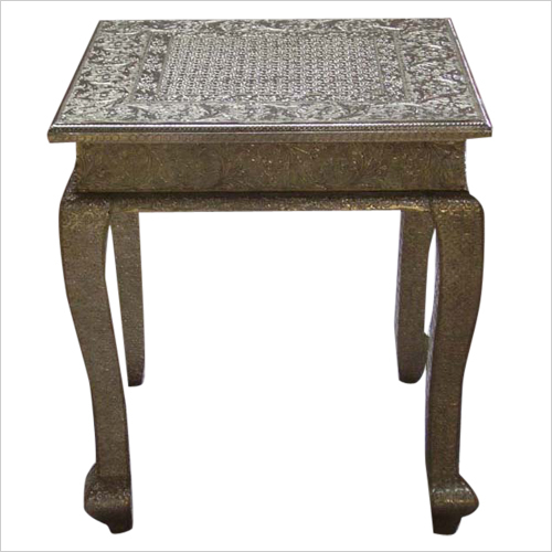 White Metal Fitted Stool