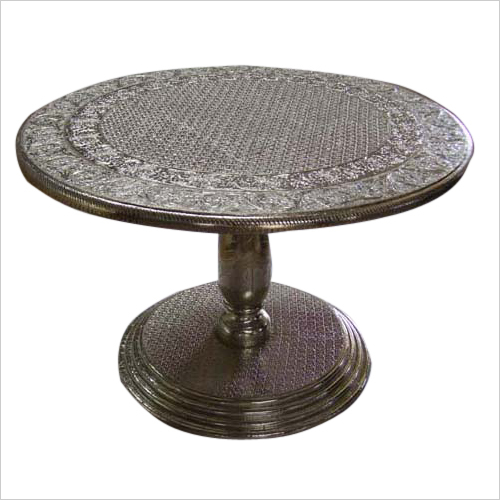 White Metal Fitted Round Table