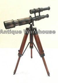 Double Barrel Brass Telescope With Tripod Desk Decorative