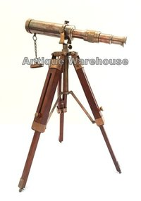 Antique Brass Marine Telescope With Tripod